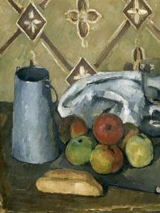 Fruits, serviette et boîte à lait by Paul Cézanne