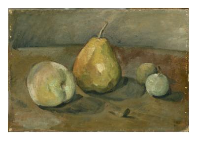 Nature morte, poire et pommes vertes