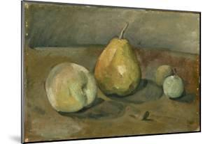Nature morte, poire et pommes vertes by Paul Cézanne