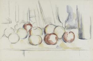 Pommes, verre et bouteille by Paul Cézanne