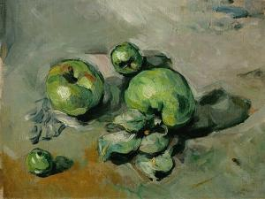 Pommes vertes, green apples, around 1873 Canvas, 26 x 32 cm R. F.1954-6. by PAUL CEZANNE