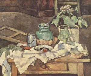 Pot of Flowers on a Table by Paul Cezanne