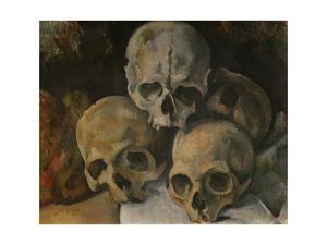 Pyramide de cranes-A pyramid of skulls, 1898-1900 Canvas 39 x 46 cm. by PAUL CEZANNE