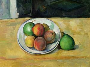 Still Life with a Peach and Two Green Pears, C. 1883-87 by Paul Cézanne