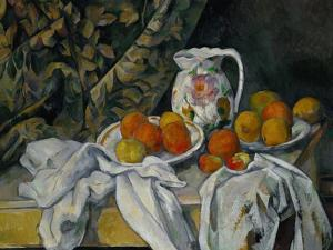 Still Life with Curtain and Flowered Pitcher, 1899 by Paul Cézanne