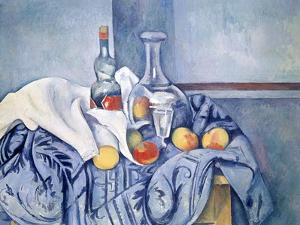 Still-Life with Peaches and Bottles by Paul Cézanne