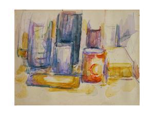 Table de cuisine, pots et bouteilles-A kitchen table, pots and bottles, 1902-1906. by PAUL CEZANNE