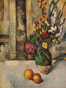 'Vase de Fleurs et Pommes', c19th century by Paul Cezanne