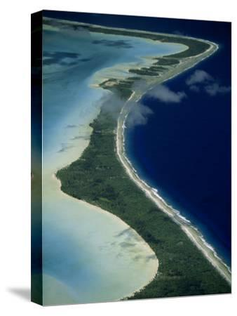 Aerial of the Outer Reef and Barrier Island Off of Bora Bora
