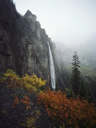 Bridal Veil Falls Plummets Down a Rock Cliff Near Telluride