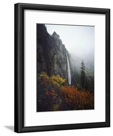 Bridal Veil Falls Plummets Down a Rock Cliff Near Telluride