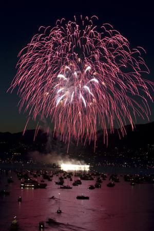 Fireworks Burst over Boats in English Bay During the Annual Celebration of Lights by Paul Colangelo