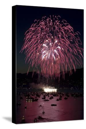 Fireworks Burst over Boats in English Bay During the Annual Celebration of Lights