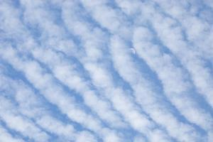 Moon and Blue Sky Behind Rows of Cirrocumulus Clouds by Paul Colangelo