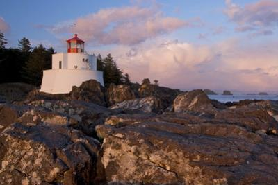 The Amphitrite Lighthouse on the Wild Pacific Trail at Sunset by Paul Colangelo