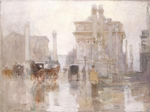After the Rain, the Dewey Arch, Madison Square Park, New York by Paul Cornoyer