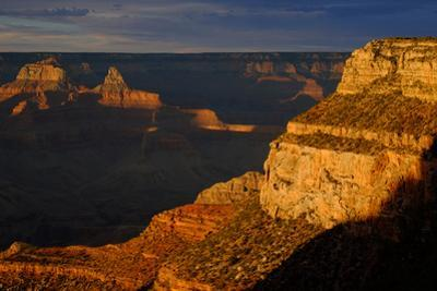A View from the South Rim of Sunlight Striking Cliffs in the Grand Canyon