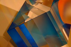 Dazzling Abstract Color in a Close Up View of a Small Detail of Glass Artwork by Paul Damien