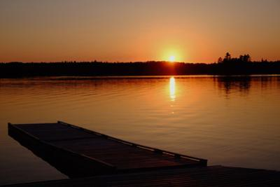 Sunset over the Shore of Eva Lake in Ontario, Canada