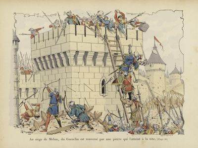 Bertrand Du Guesclin Struck on the Head by a Stone at the Siege of Melun, 1359