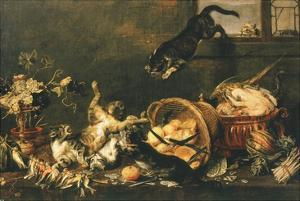 Cats Fighting in Pantry by Paul De Vos