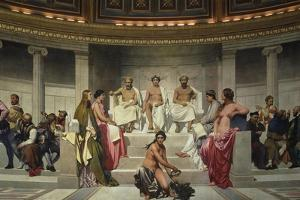 Wall Painting in the Academy of Arts, Paris, 1841 (Middle Part) by Paul Delaroche