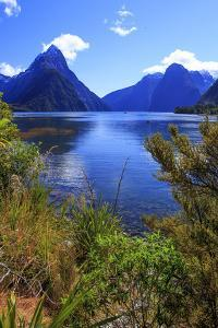 Looking across the Waters of Milford Sound Towards Mitre Peak on the South Island of New Zealand by Paul Dymond