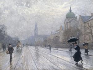 A Street Scene by Paul Fischer