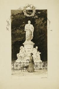 An Elegant Lady at the Statue of Goethe, 1888 by Paul Fischer