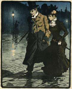 Couple in Wet Street by Paul Fischer
