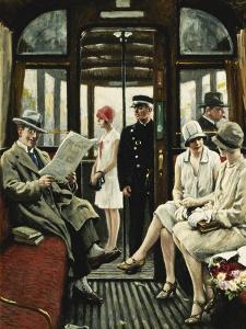In Der Strassenbahn by Paul Fischer