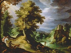 Landscape with a Deer Hunt, 1591 by Paul Fischer