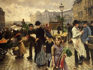 Market Day at Hojbro Plads Copenhagen by Paul Fischer