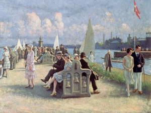 People on a Promenade by Paul Fischer