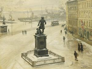 The Statue of Tordenskiold Facing Piperviken, Oslo Harbour, 1906 by Paul Fischer
