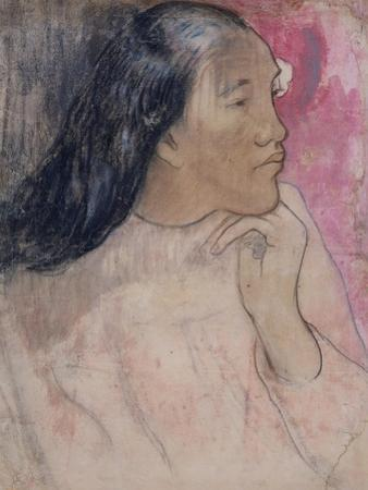 A Tahitian Woman with a Flower in Her Hair, 1891-92 by Paul Gauguin