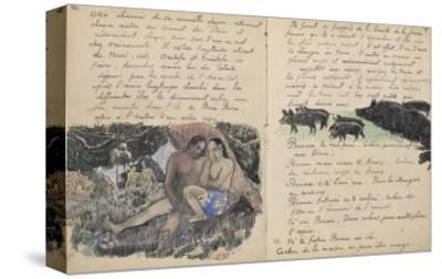Album Ancien culte Mahori : un couple assis et troupeau de cochons