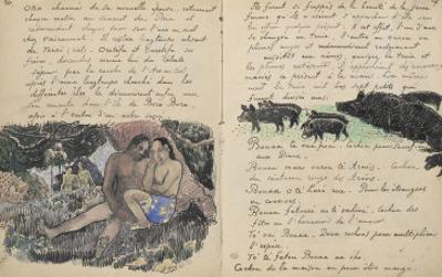 Album Ancien culte Mahori : un couple assis et troupeau de cochons by Paul Gauguin