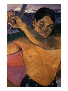 Detail of Tahitian Man from Man with an Axe by Paul Gauguin