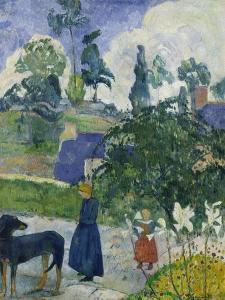 Entre Les Lys, Breton Landscape with Dog and Children, 1889 by Paul Gauguin