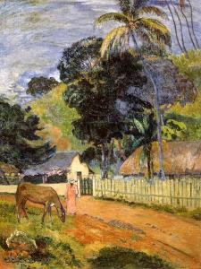 Horse On Road Tahitian Landscape 1899