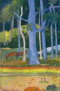 Landscape with Blue Trees (Paysage Aux Troncs Bleu), 1892 by Paul Gauguin