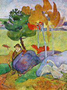 Little Breton Boy with a Goose, 1889 by Paul Gauguin