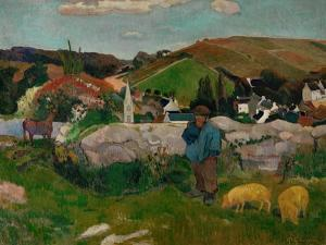 Peasants, Pigs, and a Village Under a Clear Sky, Landscape in Brittany, France, 1888 by Paul Gauguin