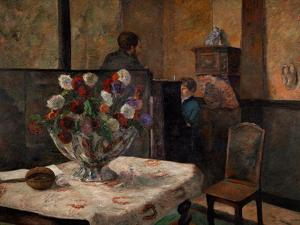 Still Life with Flowers, Interior of the Artist's Apartment, Rue Carcel, Paris by Paul Gauguin