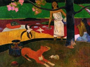 Tahitian Idyll, Two Women in Idyllic Scenery with Orange Dog, 1892 by Paul Gauguin