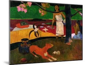 Tahitian Idyll, Two Women in Idyllic Scenery with Orange Dog, 1892 by Paul Gauguin