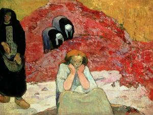 The Grape Harvest at Arles. 'Miseres Humaines', 1888 (Oil on Sackcloth of Jute) by Paul Gauguin