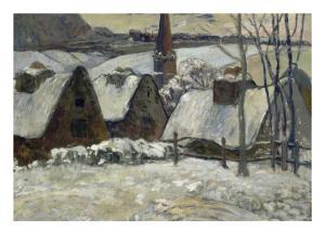 Village breton sous la neige by Paul Gauguin