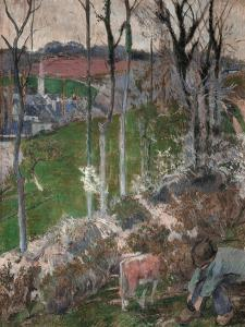Winter, a Young Breton Adjusts His Clogs, 1888 by Paul Gauguin